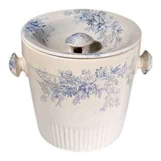 Blue & White Floral Pottery Planter & Cover