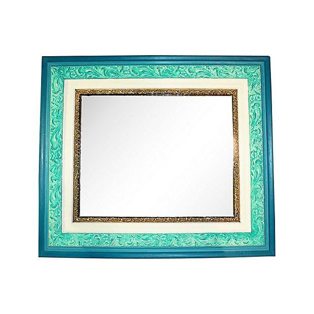 Antique Turquoise Painted Mirror in Chalk Paint - Image 1 of 4
