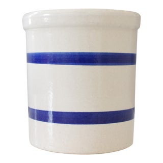 Vintage Ceramic Pottery Crock Jar Robinson Ransbottom Pottery Blue Stripe