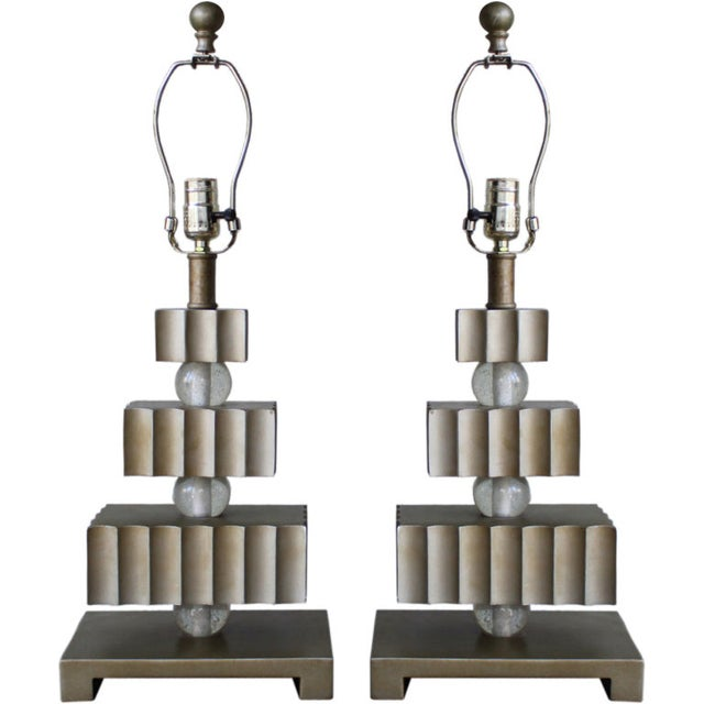 Hollywood Regency Three Tier Table Lamps - Pair - Image 1 of 4