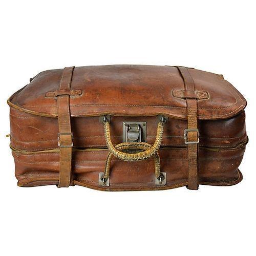 Vintage Leather Travel Bag - Image 4 of 6