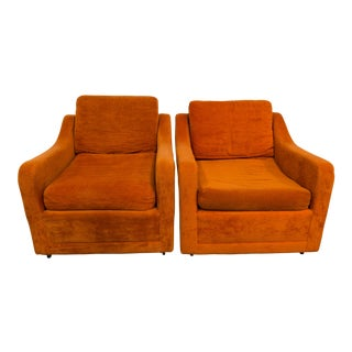 Vintage Kroehler Pantone Orange Velvet Chairs on Wheels - a Pair