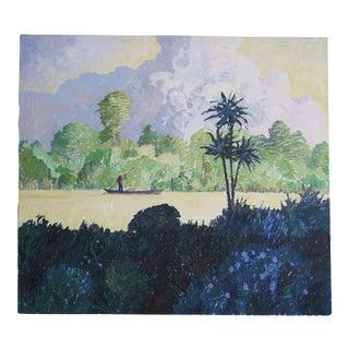 """Alan Curtis """"Florida Estuary, Shrimp Fisher at Dawn"""" Painting"""