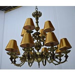 Image of 12 Arm Dutch Brass Chandelier
