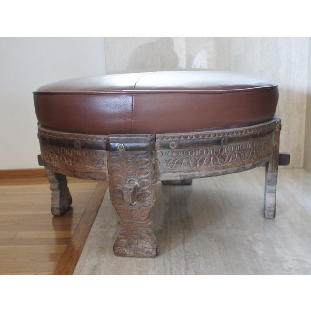 Moroccan Carved Tribal Wood Ottoman - Image 2 of 6