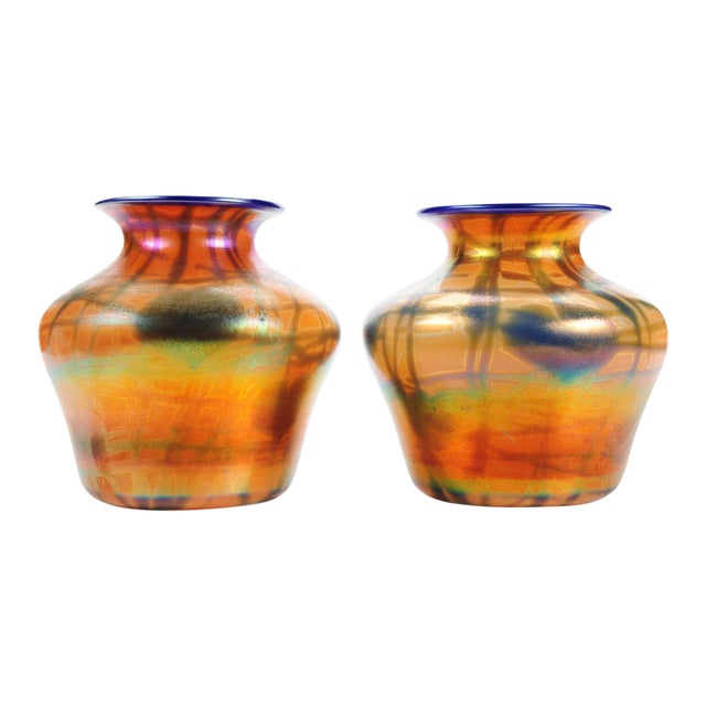 Imperial Art Glass Heart & Vine Decor Vases- A Pair - Image 1 of 9