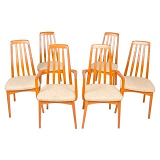 Danish Modern Teak Slatted Back Chairs - Set of 6