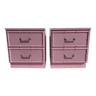Pink Lacquered Faux-Bamboo Nightstands - A Pair