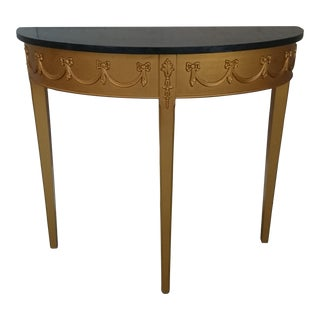 French Style Demilune Ebony Top Table