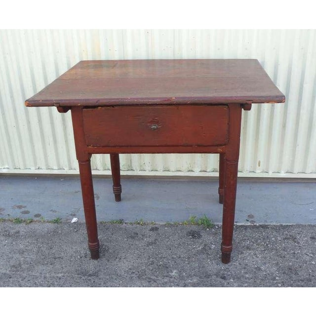 18thc Original Red Lift Top Tavern Table With Original Drawer - Image 2 of 10