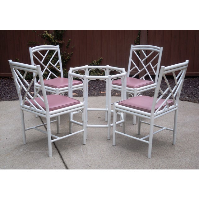 Image of Faux Bamboo Metal Dining Chairs & Table Base - S/5