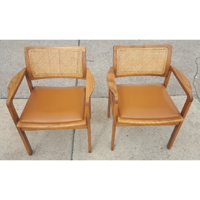 Vintage Rattan Back Guest Armchairs - Pair - Image 4 of 8