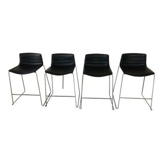 Black Leather Counter Stools by Arper - Set of 4
