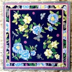 Image of Adrienne Landau Navy Floral Insect Silk Scarf