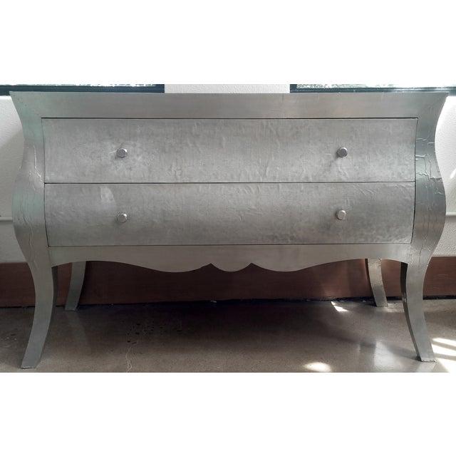 Metal Hammered Silver Dresser - Image 2 of 3
