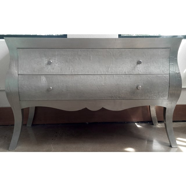 Image of Metal Hammered Silver Dresser