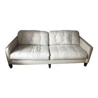 White Leather-Blend Couch
