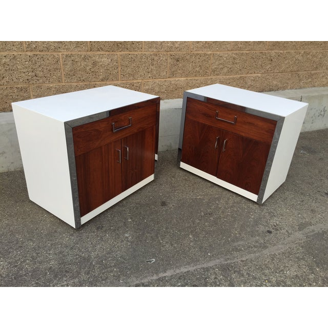 Rosewood & Chrome Night Stands by Milo Baughman - Image 3 of 4