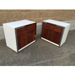 Image of Rosewood & Chrome Night Stands by Milo Baughman