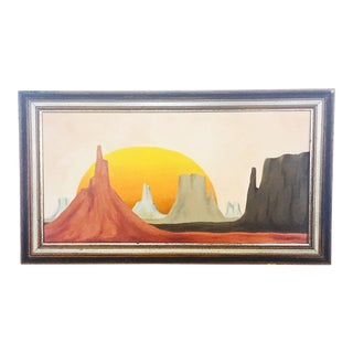 Vintage 'Desert Sentinels' Desert Platteau Oil Paintings by Gaskill