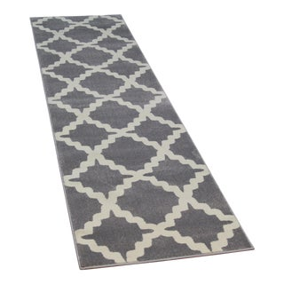 Gray Trellis Patterned Rug - 2'8''x10'