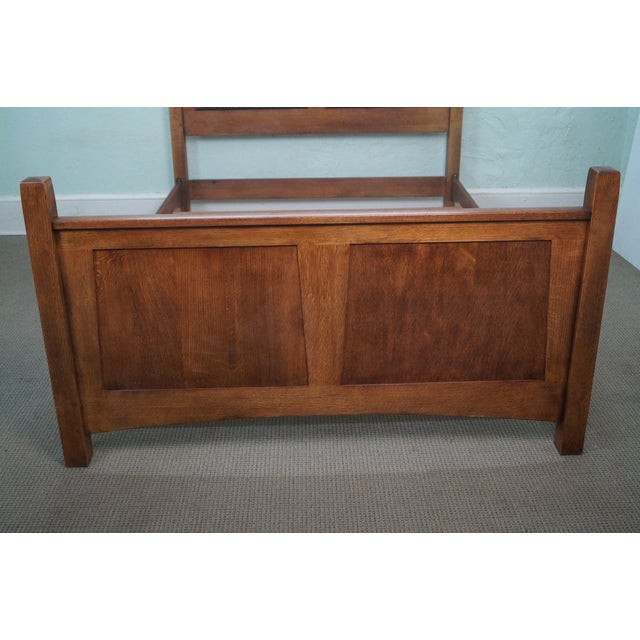 Image of Stickley Solid Oak Mission Style Queen Size Bed