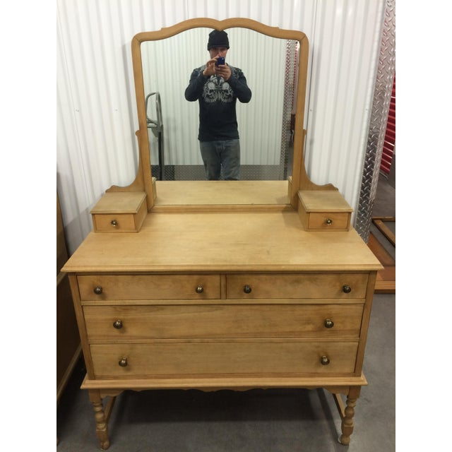 1940's Solid Wood Dresser with Mirror - Image 3 of 9
