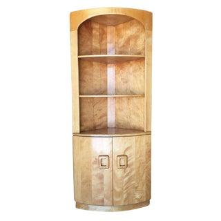 Heywood-Wakefield Blonde Streamline Maple Corner Cupboard Cabinet