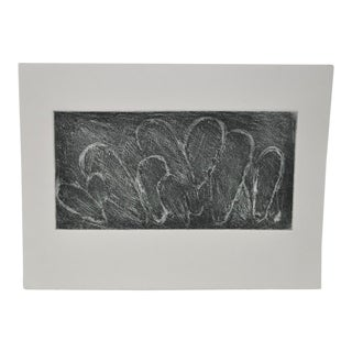 Black and White Abstract Etching by Listed Artist Arnold Grossman c.1980