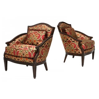 Designer Louis XVI Style Lounge Armchairs - A Pair