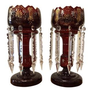 Antique Glass Bohemian Lustres - a Pair