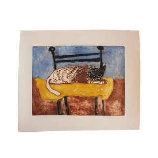 Richard Royce 1976 'Spot on the Pillow' Cat Print