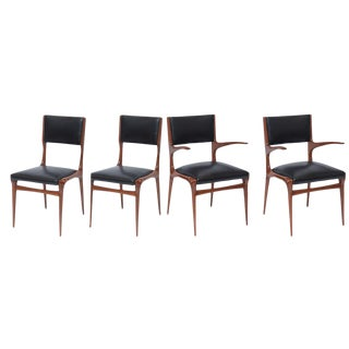 Set of 12 Carlo di Carli Walnut Dining Chairs, Italy