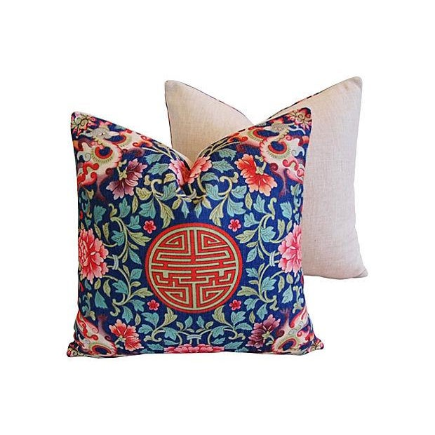 Image of Custom Chinese Floral & Medallion Pillows - Pair