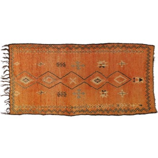 Vintage Berber Orange Moroccan Rug, 05'11 x 11'08