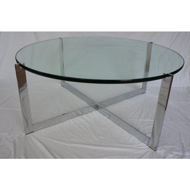 milo baughman chrome glass round coffee table chairish. Black Bedroom Furniture Sets. Home Design Ideas