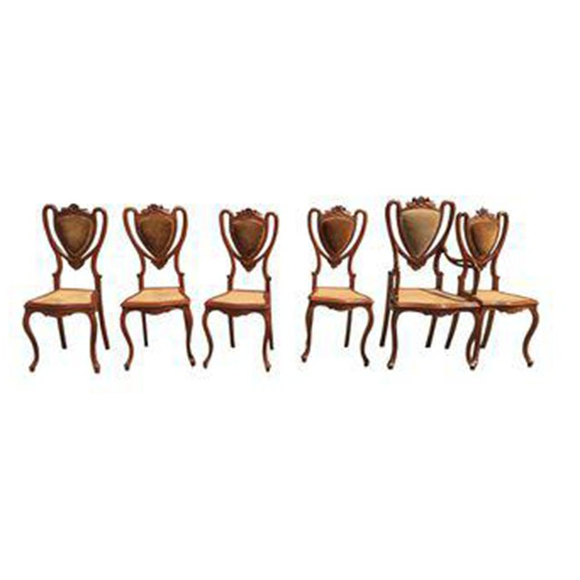 Image of Shield Back Cane Chairs - Set of 6