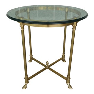 Italian Hollywood Regency Brass Glass Top Accent Table