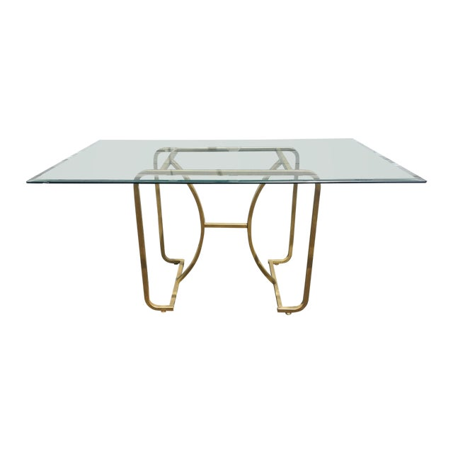 Gold Base & Glass Top Neo Deco Dining Table - Image 1 of 6