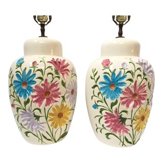Hollywood Regency Floral Relief Ceramic Table Lamps - A Pair