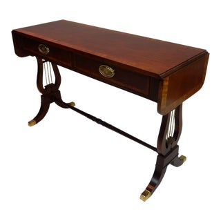 Baker Furniture Banded Mahogany Drop Leaf Console Table