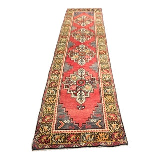 "Rare Vintage Turkish Oushak Runner - 2'9""x10'5"""