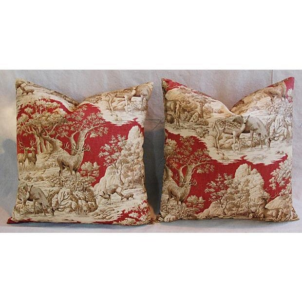 Designer French Woodland Deer Toile Pillows - Pair - Image 2 of 8