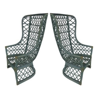 Brown-Jordan High Back Painted Rattan Chairs- A Pair