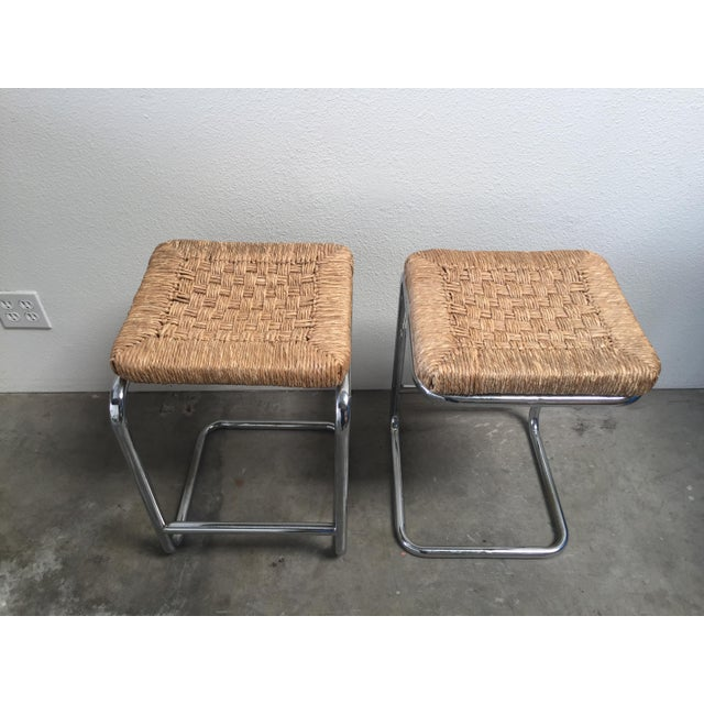 Image of Vintage 1970's Chrome Bar Stools - A Pair