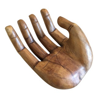 Vintage Bohemian Carved Wooden Human Hand