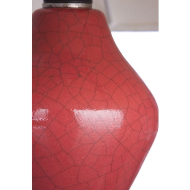 "Red Crackle Finish ""Arnie"" Lamp - Pair - Image 4 of 4"