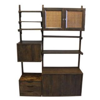 Danish Mid-Century Modern Walnut Wall Unit Cabinets Drawers Shelves