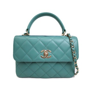 Chanel Light Green Small Flap Lambskin Hand Bag