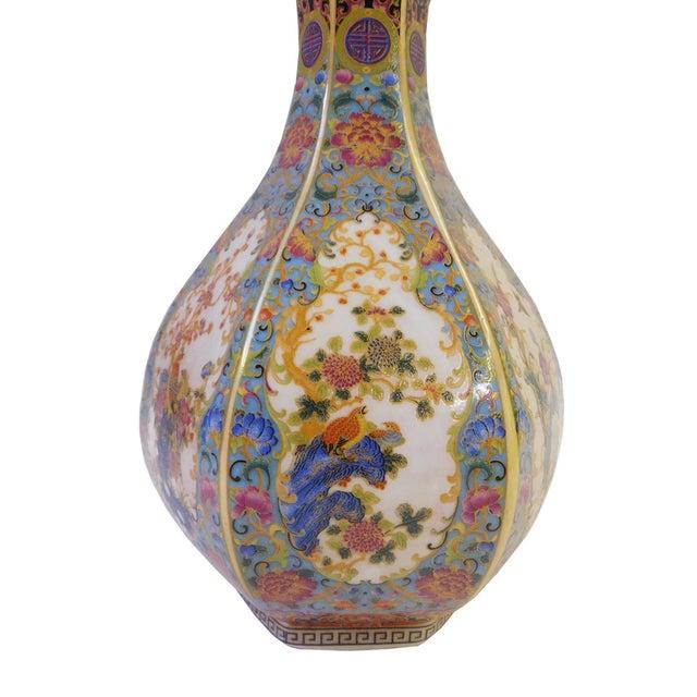 Floral Hexagon Porcelain Vase - Image 3 of 7